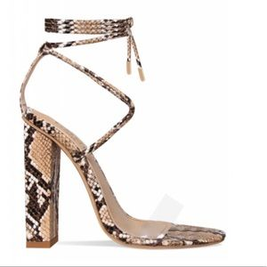 Simmi UK snake print heels with tie up ankle